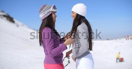 Stock fotó: Kettő · fiatal · nő · sétál · tél · sí · üdülőhely