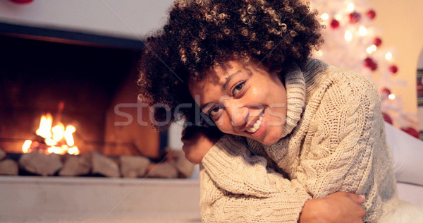 Lovely black woman in sweater and leggings Stock photo © dash