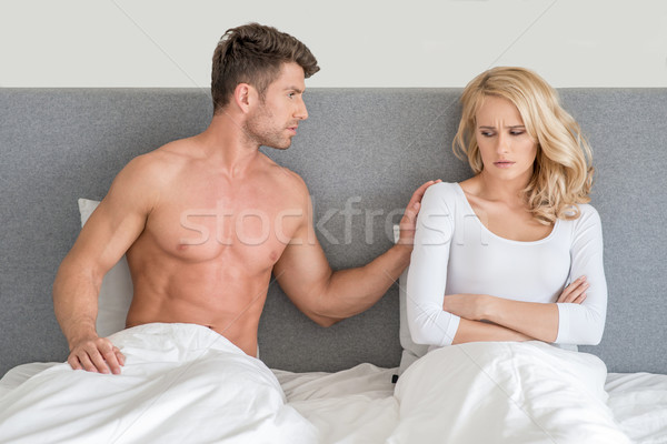Not in Good Terms Young Couple on Bed Stock photo © dash