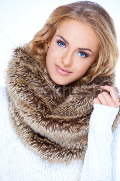 Close up Blond Woman in Furry Brown Scarf Stock photo © dash