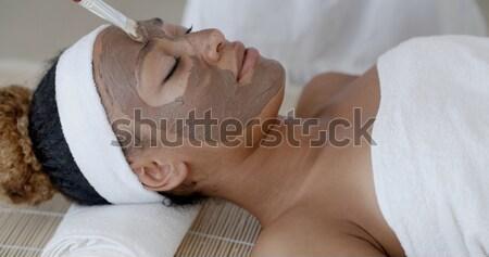 Női só bozót kezelés szépségápolás gyógyfürdő Stock fotó © dash