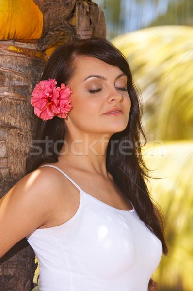 Pihen évek nő portré jóga egzotikus lány Stock fotó © dash