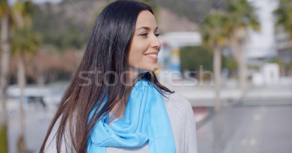 Smiling vivacious young woman in an urban street Stock photo © dash