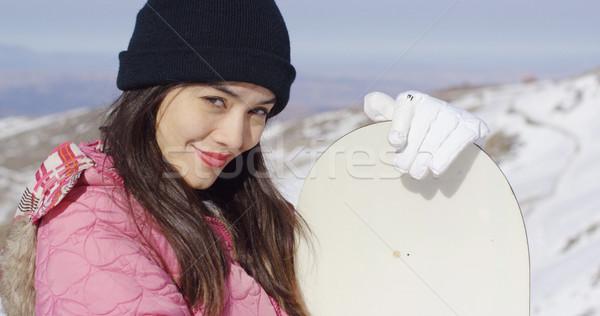 Beautiful asian girl with snowboard Stock photo © dash