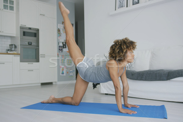 Fit woman working out on mat Stock photo © dash