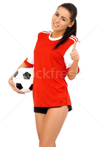 Hermosa femenino futbolista pelota Foto stock © dash