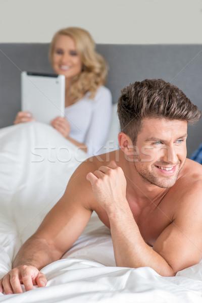 Macro Handsome Couple Partner on Bed Fashion Shoot Stock photo © dash