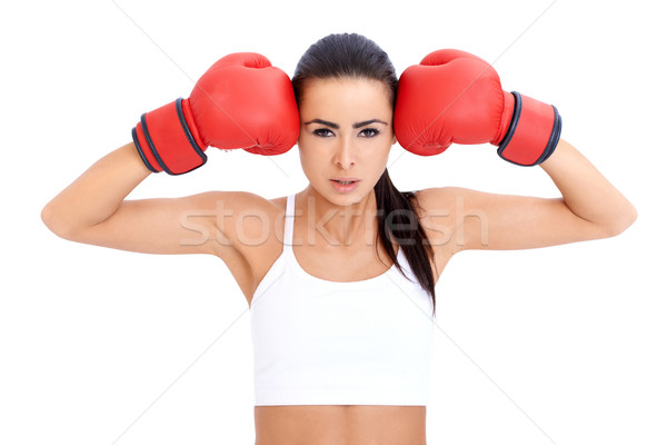 Healthy Young Woman in Red Gloves Stock photo © dash