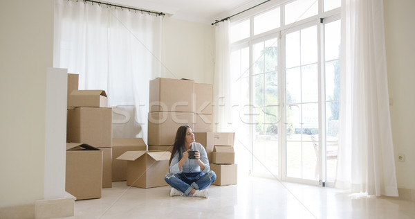 Young woman starting a new life in a new home Stock photo © dash