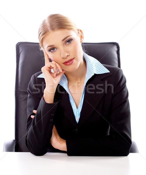 Foto stock: Loiro · empresária · retrato · belo · mulher · de · negócios · branco