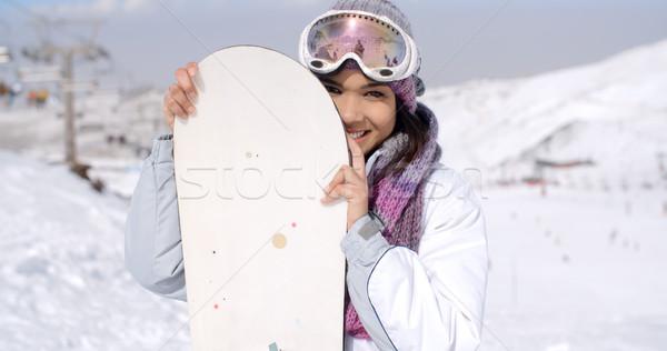 Rire jeune femme planche à neige mode ski Photo stock © dash