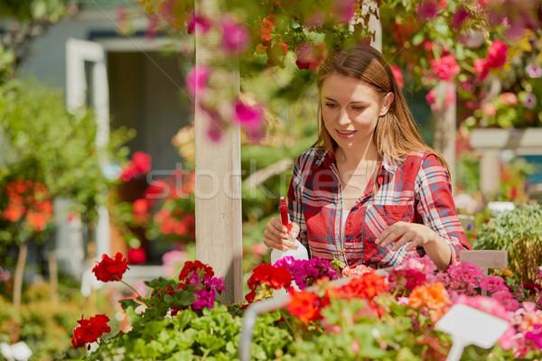 Foto stock: Mulher · água · flores · horizontal · ao · ar · livre · tiro