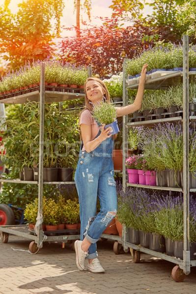 Mujer stand flores jóvenes bastante jardinero Foto stock © dash
