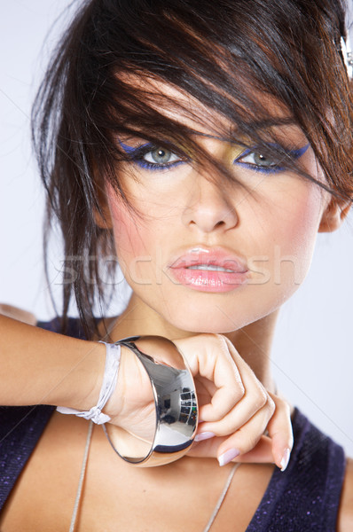 Close up Beautiful Young Woman in Funky Hair Stock photo © dash