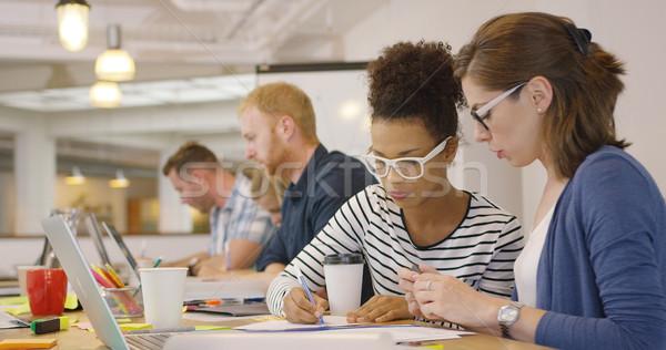 Elfoglalt emberek kortárs iroda kettő fiatal Stock fotó © dash