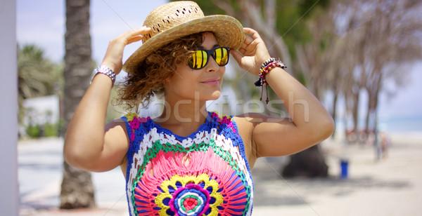 ストックフォト: きれいな女性 · サングラス · 帽子 · かなり · 成人 · 女性