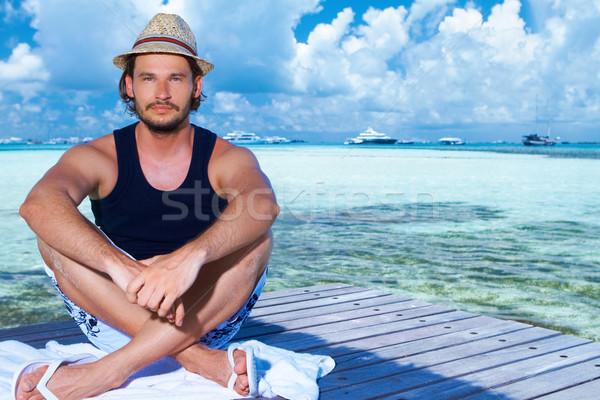 человека Мальдивы красивый мужчина воды пляж Сток-фото © dash
