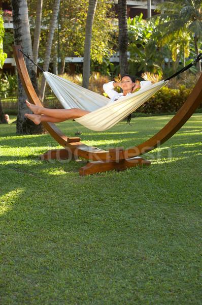 Woman on hammock Stock photo © dash