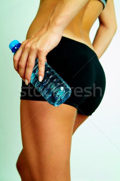 Fitnessz testrész üveg víz lány test Stock fotó © dash