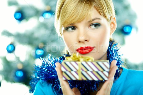 Güzel mavi Noel genç kadın noel ağacı beyaz Stok fotoğraf © dash