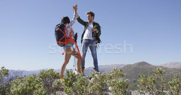 Gelukkig paar high five jonge verrukkelijk ander Stockfoto © dash