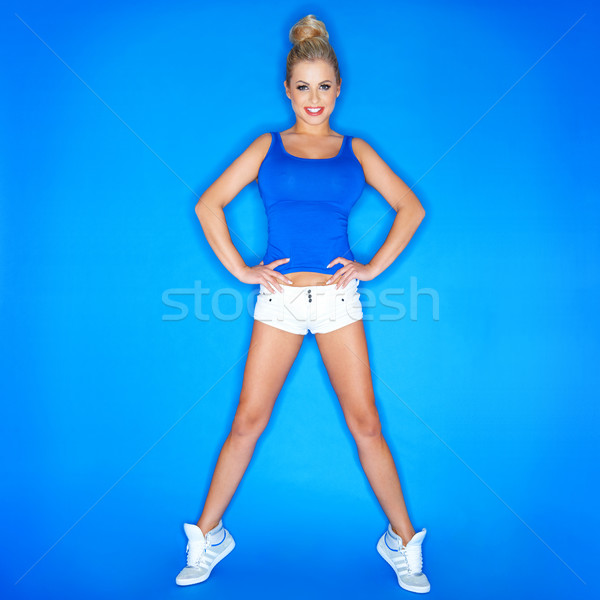 Young Blonde Woman Standing On Toe Wearing Shoes Stock photo © dash