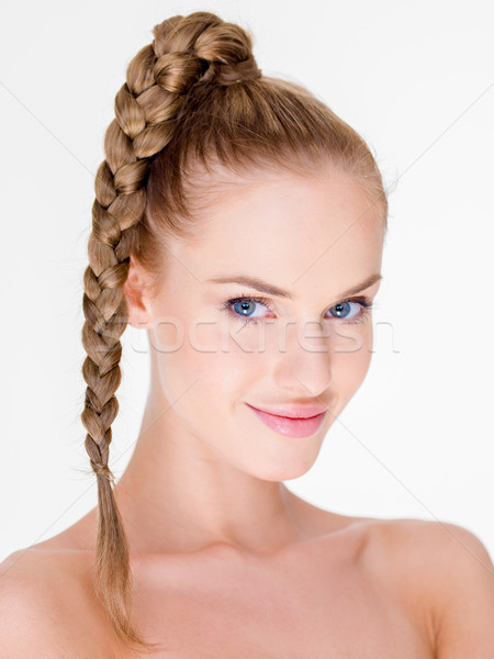 Portrait of Smiling Woman with Braided Hair Stock photo © dash