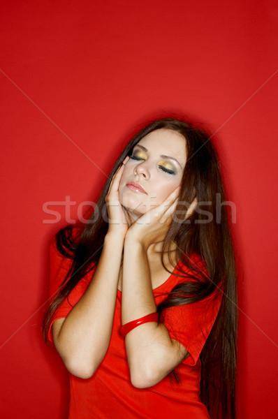 Vrouw kleuren portret jonge vrouw geïsoleerd kleur Stockfoto © dash