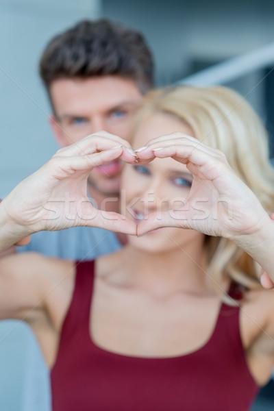Makró szerelmespár aranyos kéz szív felirat Stock fotó © dash