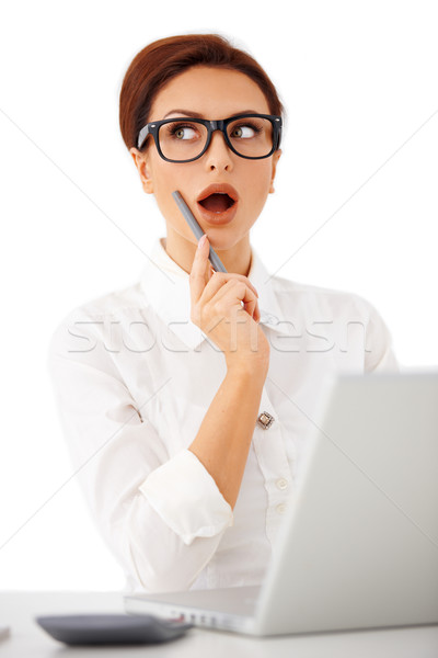 Businesswoman suddenly remembering something Stock photo © dash