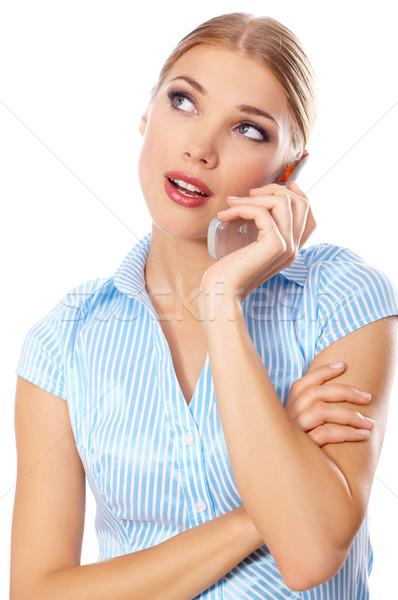 Stok fotoğraf: Sarışın · işkadını · portre · güzel · iş · kadını · cep · telefonu