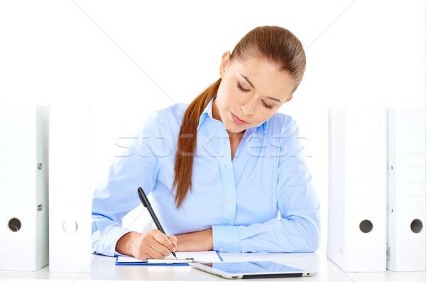 Stock fotó: Hatékony · üzletasszony · dolgozik · asztal · ül · ír