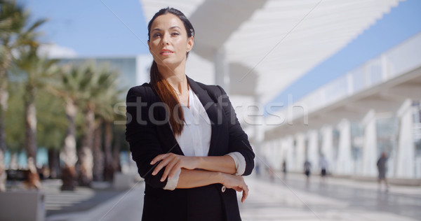 Thoughtful businesswoman with folded arms Stock photo © dash