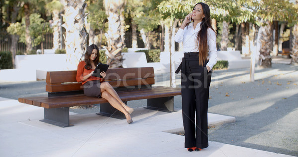 Chic young woman chatting on her mobile Stock photo © dash