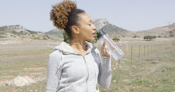 Stok fotoğraf: Kadın · içme · suyu · antreman · genç · güzel