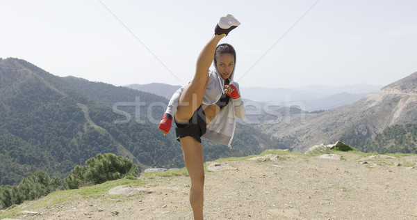Young female kickboxer in mountains Stock photo © dash