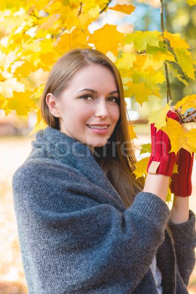 Smiling woman gathering autumn leaves Stock photo © dash