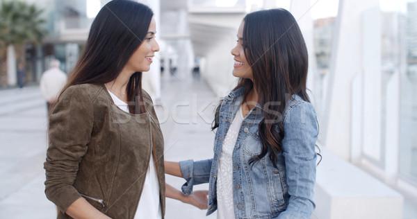 Two Beautiful Ladies Chatting Stock photo © dash