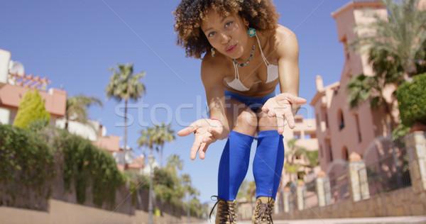 çekici kadın hava öpücük altında atış Stok fotoğraf © dash