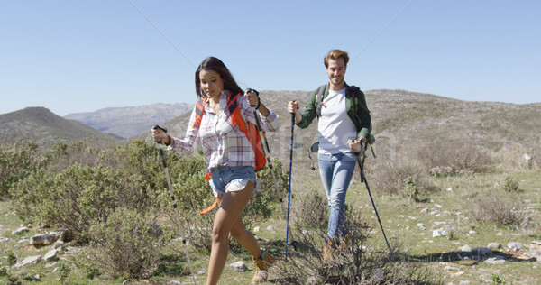 Two young people trekking Stock photo © dash