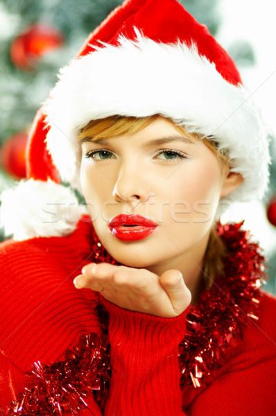 Stok fotoğraf: Güzel · Noel · genç · kadın · şapka · noel · ağacı