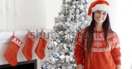 Pretty smiling blondie looking inside her christmas gift Stock photo © dash
