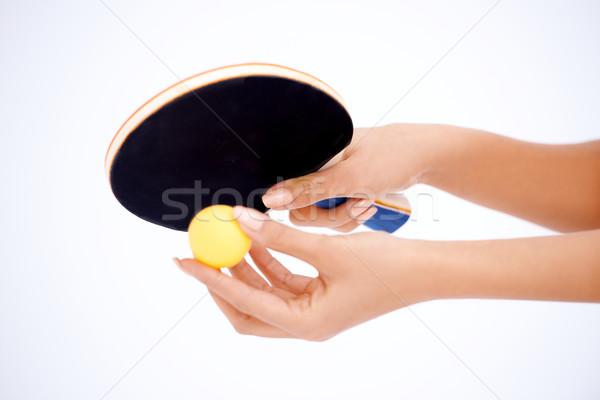 рук настольный теннис ракета мяча Сток-фото © dash