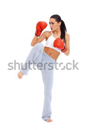 Full body shot of female kick boxer Stock photo © dash