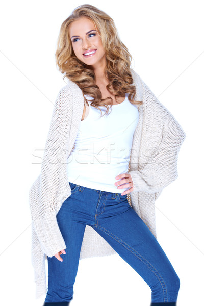 Smiling Attractive Female in Knit Cardigan Outfit Stock photo © dash