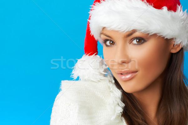 Stockfoto: Vrouw · jaren · mooie · vrouw · kerstman · hoed · Blauw