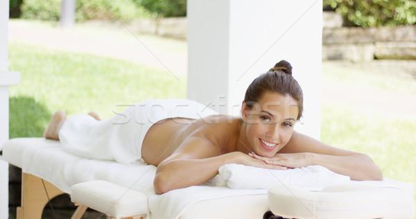 Nyugalmas fürdő vásárló asztal áll összehajtva Stock fotó © dash