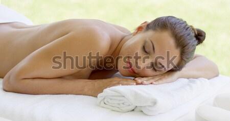 женщину расслабляющая Spa таблице Открытый патио Сток-фото © dash