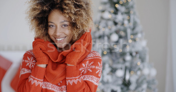 Cute pretty young African woman Stock photo © dash