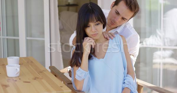 Homem conforto triste mulher tabela jovem Foto stock © dash